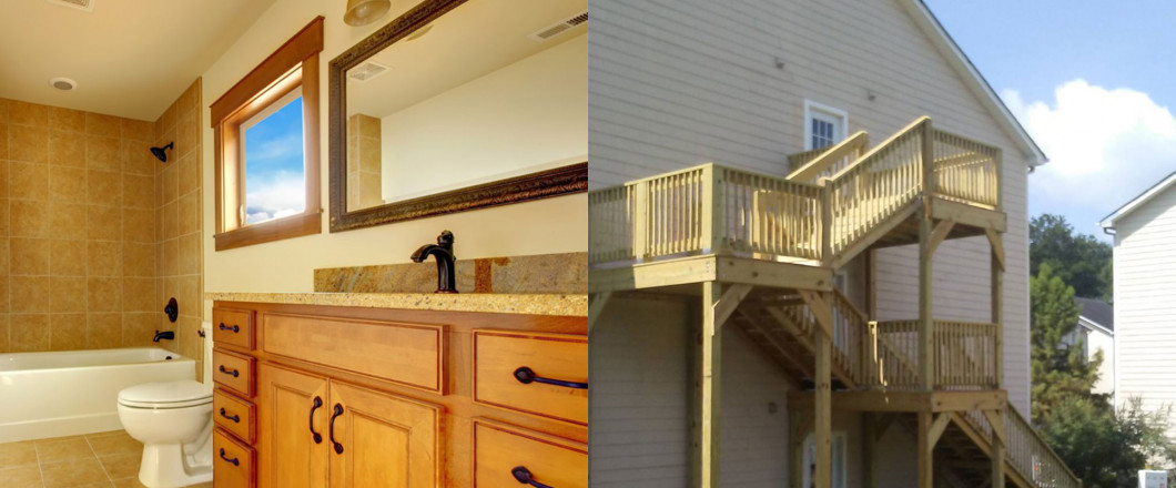 Check out our array of bathroom remodels and new deck installations